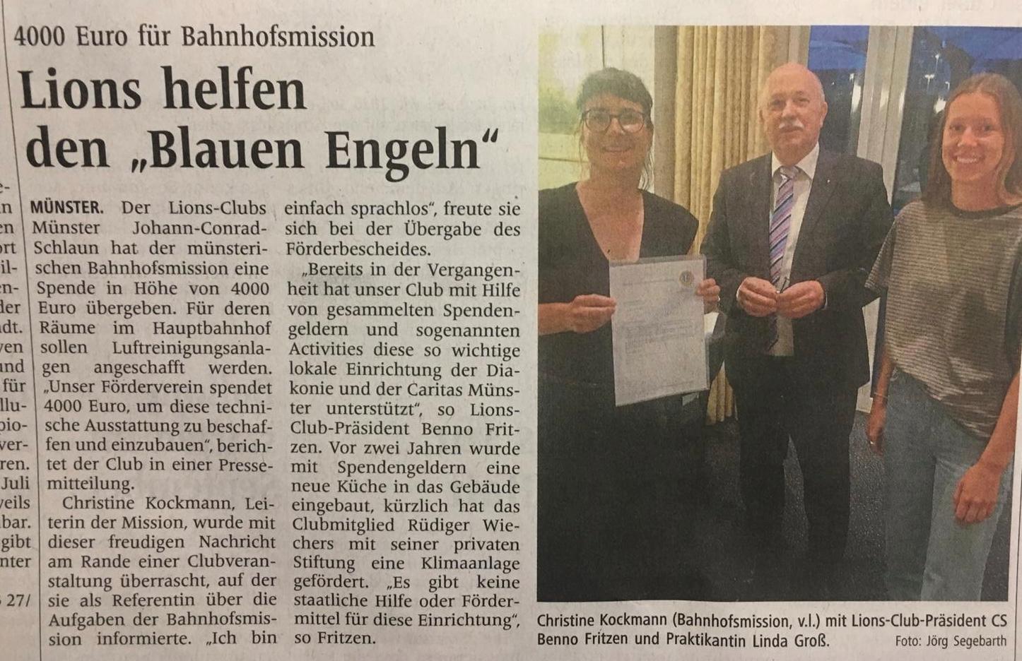 WN 29.6.21 Unser Club hilft erneut der Bahnhofsmission am Hbf Münster